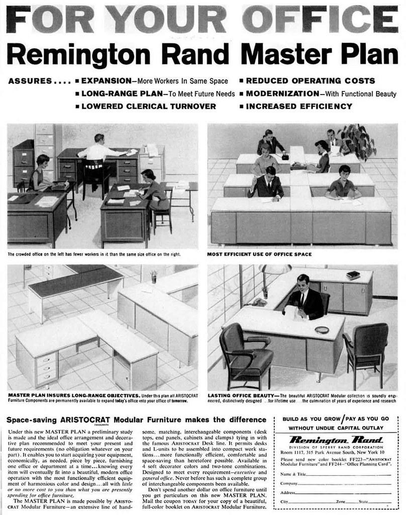 Beautiful Remington Rand Modular Office Furniture Advertisement   Ebony Magazine,  January, 1960