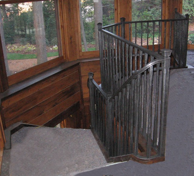 Rustic Mountian Stair Railings: Rustic Hand Forged Stair Railing