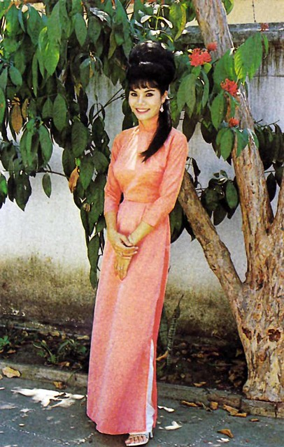 Beautiful Vietnamese lady wearing the AO DAI - 1970