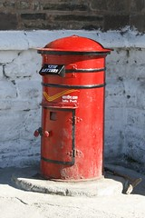 red, post box, letter box, iron,