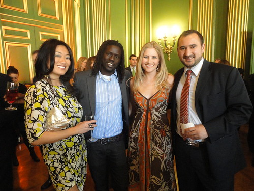 Pamela Sorensen, War Child & Sudanese refugee turned rapper Emmanuel Jal, Ashley Taylor and Karim Chrobog at the Refugees International 2011 Gala