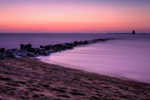 longexposure morning lighthouse beach water sunrise dawn bay rocks maryland chesapeake hdr sandypoint