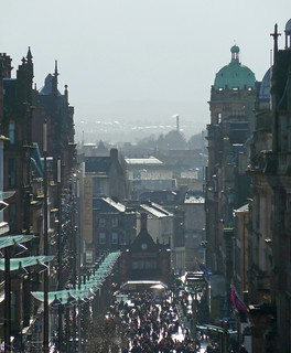 Looking down Buchanan Street in Glasgow towards the distant Victoria Infirmary boilerhouse chimney,    Scotland