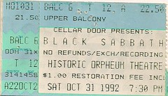 10/31/92 Black Sabbath/Exodus/Skew Siskin @ Minneapolis, MN (Ticket)