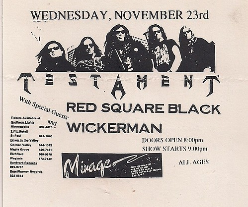 11/23/94 Testament/Red Square Black/Wickerman @ Minneapolis, MN (Handbill)