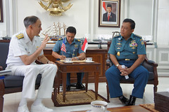 JAKARTA, Indonesia (June 16, 2011) Commander, U.S. 7th Fleet, Vice Adm. Scott Van Buskirk speaks with Indonesian Navy Chief of Staff Adm. Soeparno. The two met at Indonesian Navy headquarters to discuss US-Indonesian maritime cooperation. (U.S. Navy photo by Cmdr. Jeff Davis)