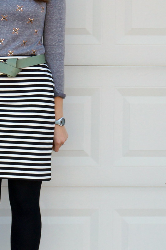 black and white stripe skirt and sweatshirt
