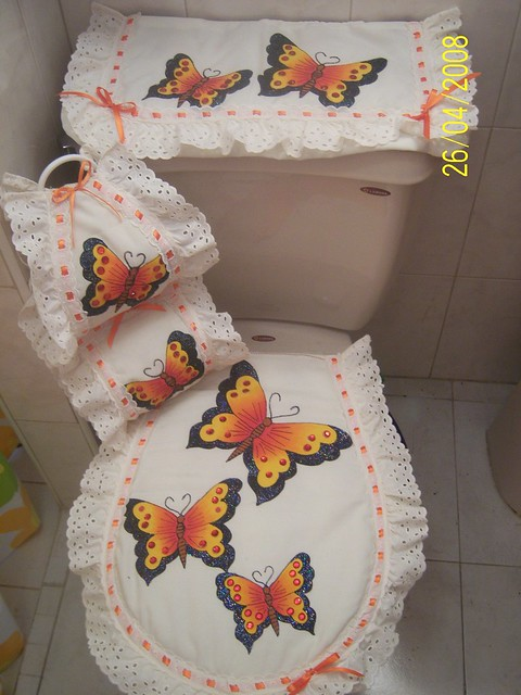 Juegos De Baño Bordados A Mano:Mariposas Juego De Bano