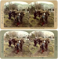 THE FUEL HAULERS (With Straw Sandals on Women and Horses!) -- TWO WAYS TO CROP A STEREOVIEW in OLD JAPAN | by Okinawa Soba (Rob)