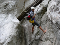 free solo climbing(0.0), adventure(1.0), individual sports(1.0), sports(1.0), recreation(1.0), outdoor recreation(1.0), mountaineering(1.0), sport climbing(1.0), extreme sport(1.0), abseiling(1.0), climbing(1.0), canyoning(1.0),