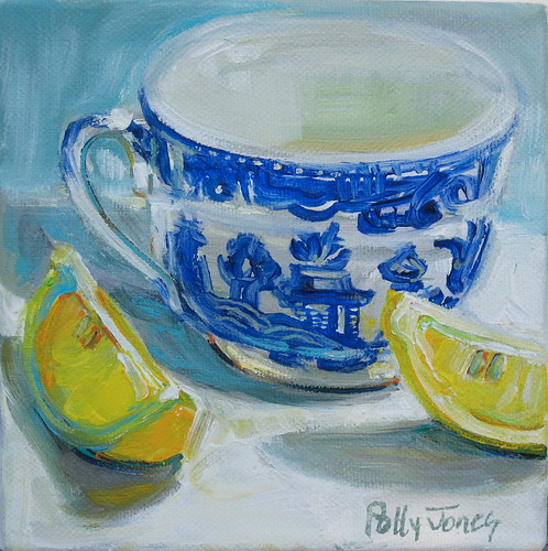 lemon light with blue willow