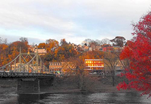 bridge autumn sunset fall river twilight foliage unionsquare lehighvalley delawareriver skylands warrencounty freebridge phillipsburgnj northamptonstreetbridge old22