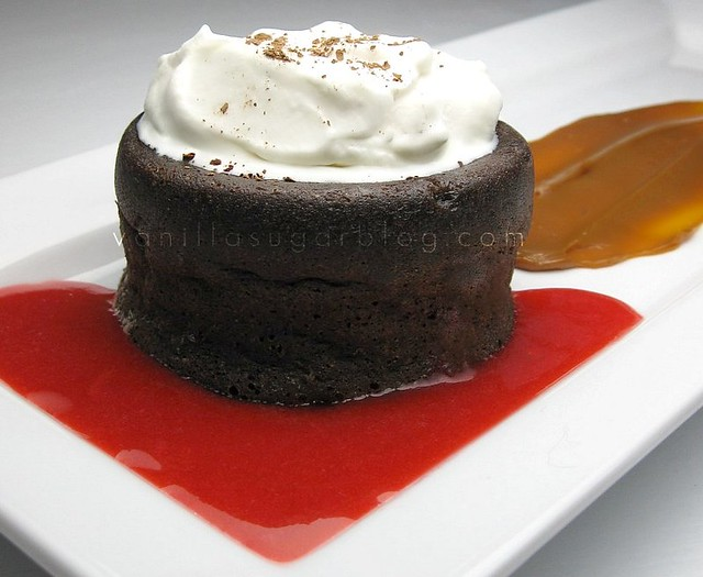 chocolate molten cake w/ raspberry coulis & caramel