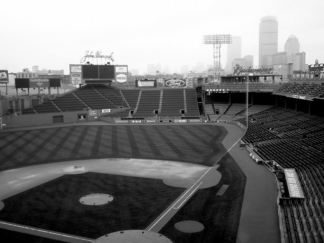 The Fenway Park Baseball Diamond and Boston Buildings ...