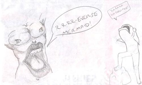 drawing placemat sketched reversemermaid torsoface