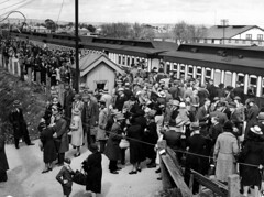 Crowd at the train for the Royal Adelaide Show by State Library of South Australia