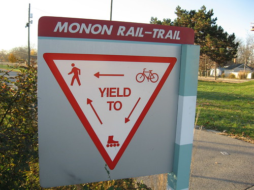 Sign on Monon Trail: Yield