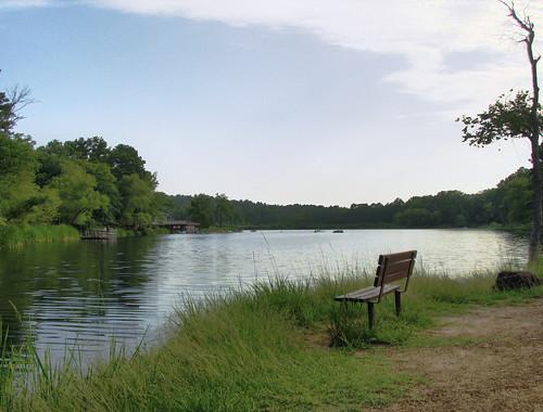 park lake bench texas state tyler shore