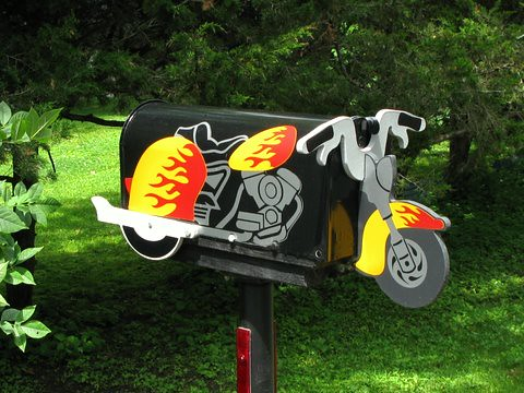 Motorcycle Novely Mailboxes Install Gallery