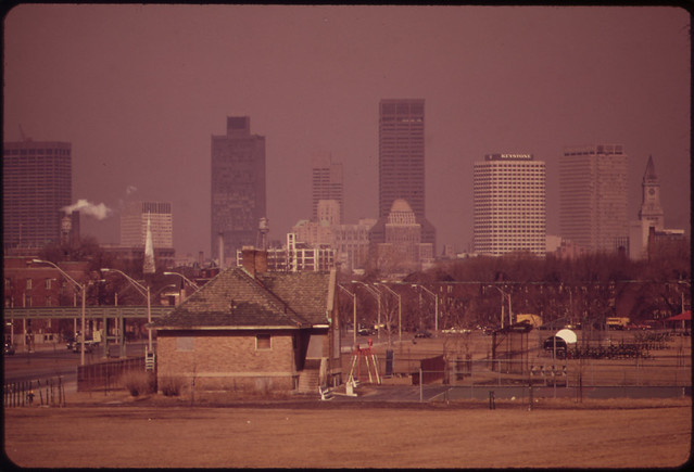 Smog over Boston - Looking North from Columbia Point Traffic Circle 3/1973 E. Halberstadt