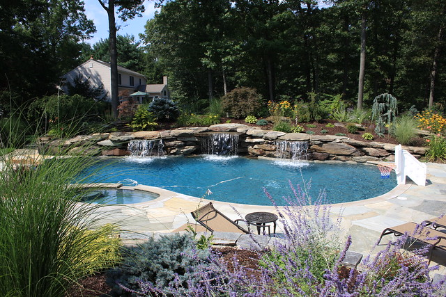 Water feature swimming pool landscaping and garden design
