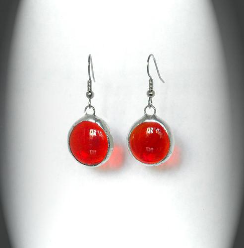 Red Glass Jewel Earrings