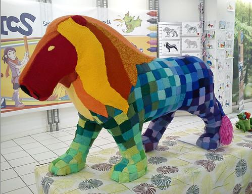 Yarn Bombed Lion - Tanya Hart - Crumbs and Petals