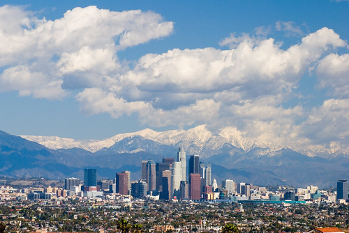Los Angeles Skyline, Mountains, and Clouds