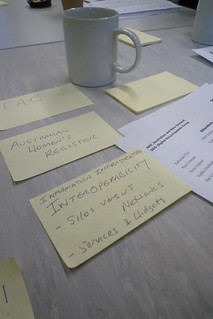 Notes at a research seminar that read EAC, Australian Woman's Register, Information infrastructure, interoperability, silos vs networks, services and widgets.