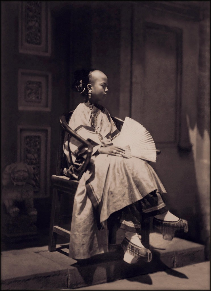 Portrait Of Manchu Girl In Traditional Costume, Beijing, China, [c1861-1864] Attribution Unknown [RESTORED]