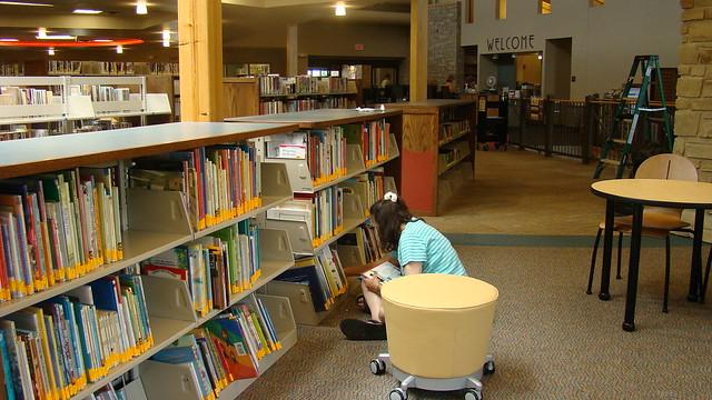 Shelf reading the children's area