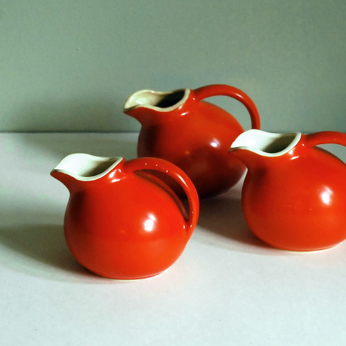 Poppy Orange Ball Creamer or Pitcher