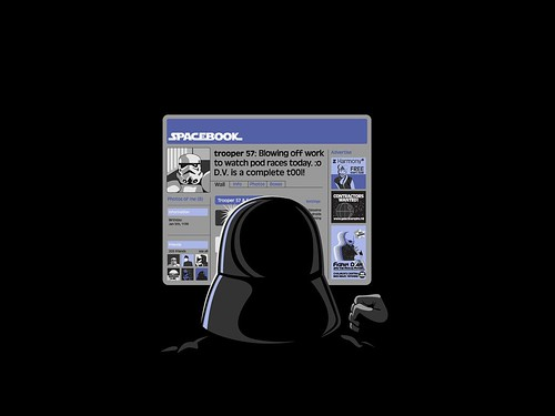 Spacebook Facebook, Storm Trooper moaning about boss Darth Vader by artist unknown