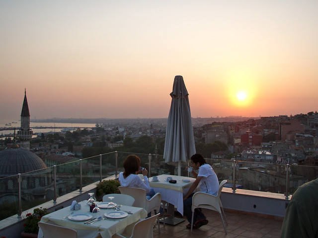 Sunset from the roof bar at Daphne Hotel, Istanbul