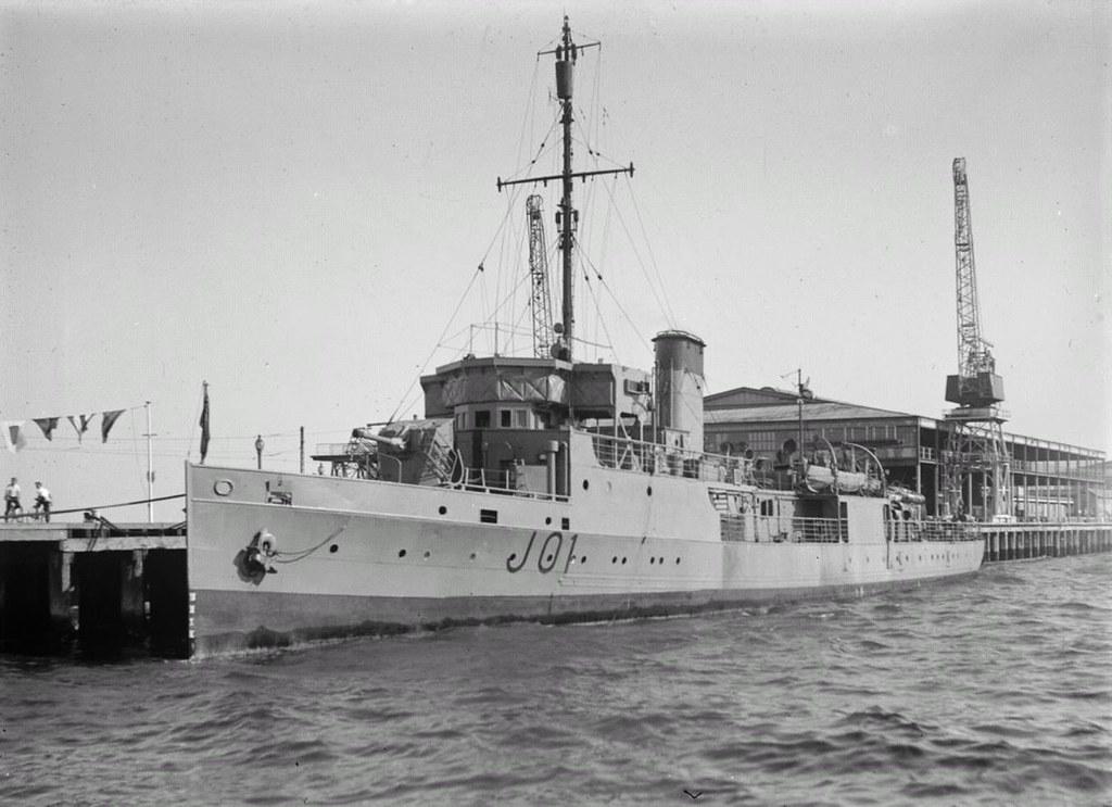 Ca. 1942: Escort HMAS DOOMBA at Station Pier, Melbourne - Allan C. Green [1878-1954] SLV.