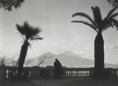 Untitled-unidentified couple watching Mt. Vesuvius, Naples, Spring 1944