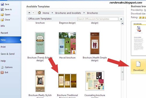 How to create brochure in word 2010 for free nerd 39 s realm for Brochure templates word 2010