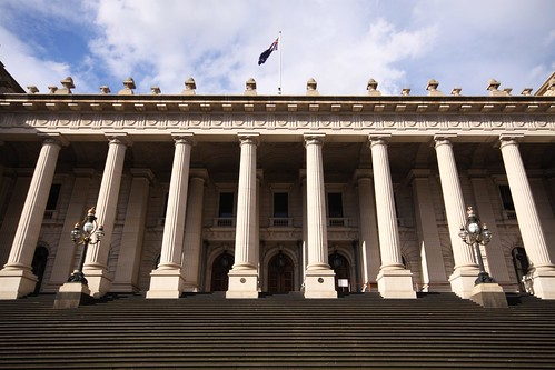 Front steps of Parliament House, Melbourne