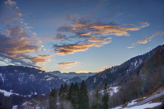 Last rays of the day in the Swiss Alps