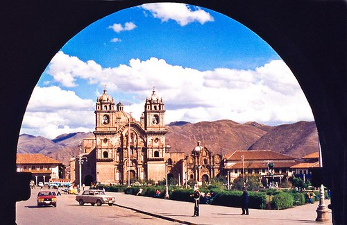 Peru Cusco  La Compania church The cathedral, Plaza de Armas.