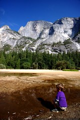 half dome reflected in the muddy puddle of mirror la…