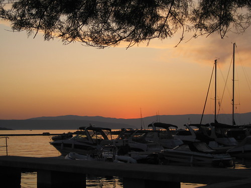 sunset sea croatia krk malinska