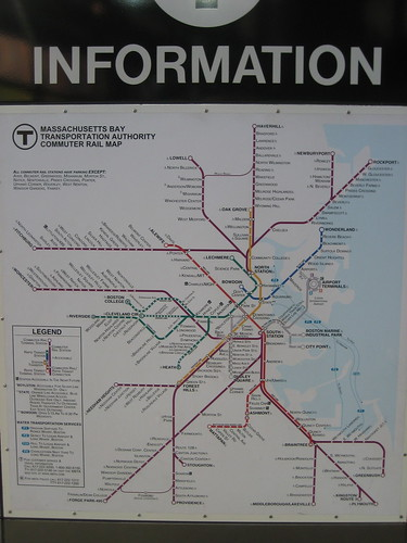 Boston T Subway and Commuter Rail Map