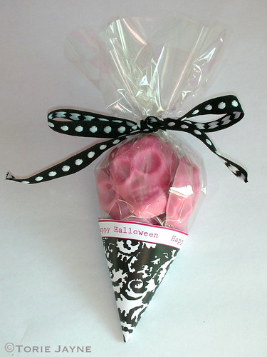 Handmade pink chocolate skulls