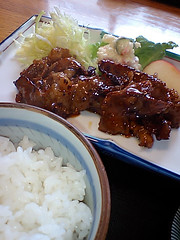 meal, lunch, steamed rice, meat, food, dish, cuisine, teriyaki,
