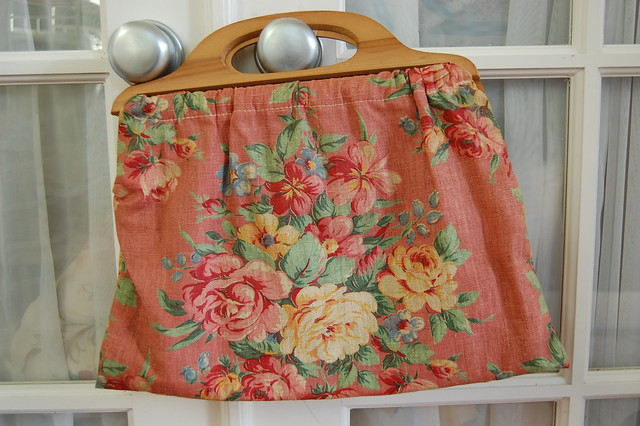 Vintage barkcloth knitting bag