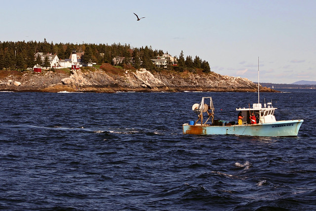 Lobster boat near pemaquid point maine flickr photo for Fish farm near me
