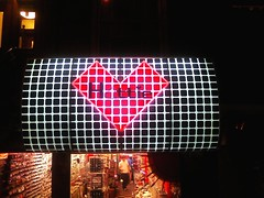 signage, red, electronic signage, light, led display, display device, lighting,