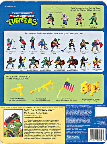Mutant Military  TEENAGE MUTANT NINJA TURTLES :: RAPH, THE GREEN TEEN BERET  ..card backer ii (( 1991 ))
