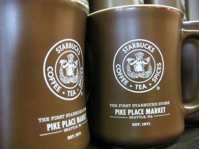 Souvenir mugs at the original Starbucks, Pike Place Market, Seattle